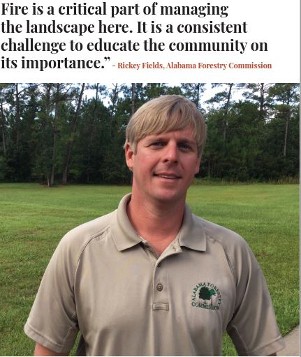 Fields serves as the liaison between the Alabama Forestry Commission,Graham Creek Nature Preserve and other government organizations and civicgroups in Foley.