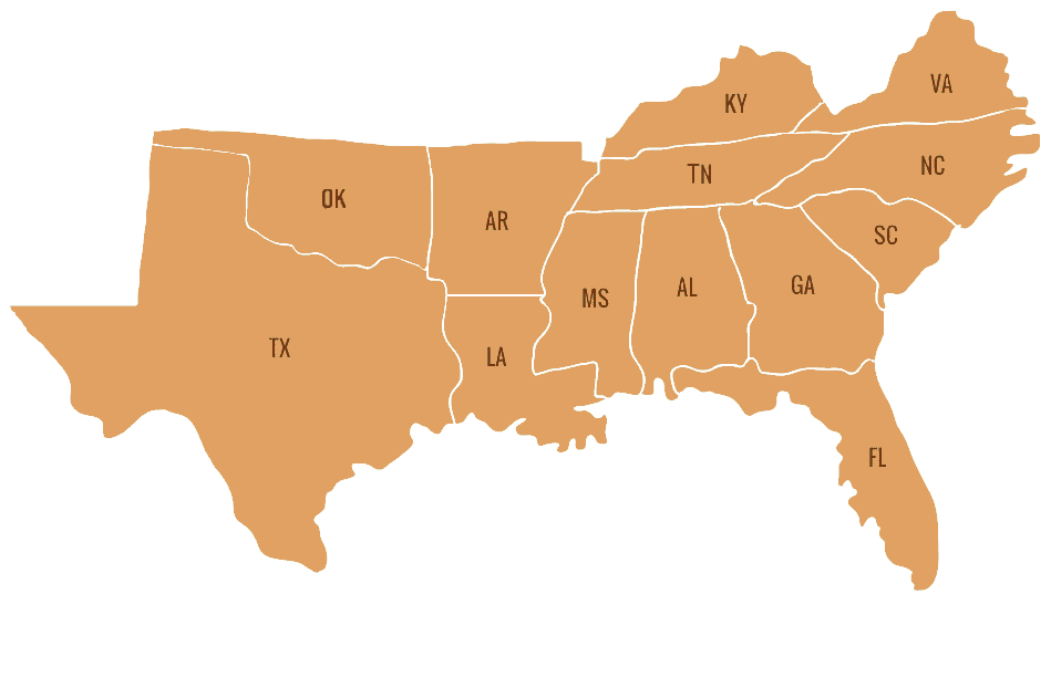 Map of the Southern United States