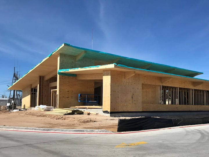 First United Bank building at Fredricksburg, Texas. First finished building made with Southern Yellow Pine from International Beams (IB) in Dothan, Alabama.